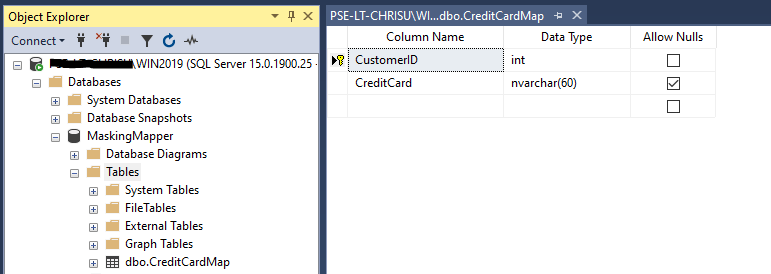 CreditCardMap table in SSMS - CustomerID as INT (PK) and CreditCard as nvarchar(60)